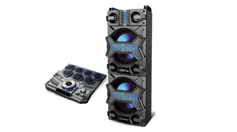 The Aisen Trolley DJ Tower Speaker A20UKB830 is a single large speaker unit that stands tall as a tower.
