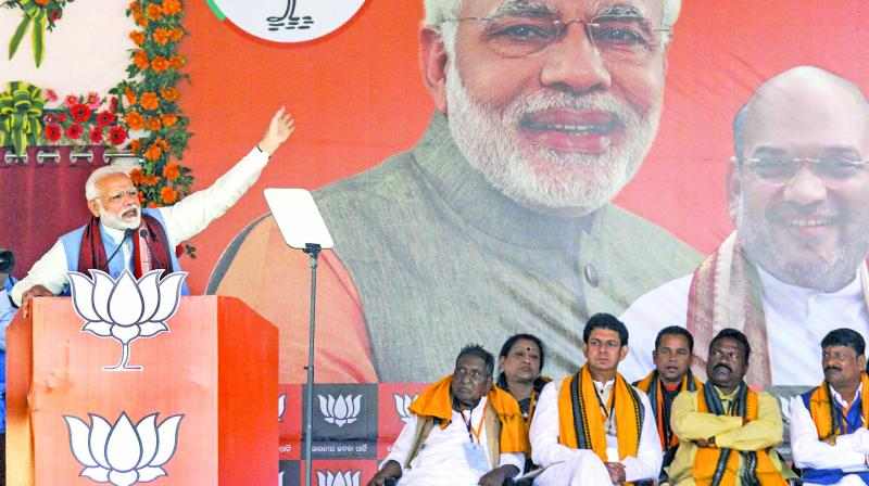 A file photo of Prime Minister Narendra Modi addressing a public meeting at Patharchepa in Balangir district of Odisha.