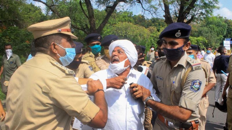 Police detain farmers and Congress Party supporters during a protest against the newly passed agri-bills, in Gandhinagar, Monday, Sept. 28, 2020. (PTI)