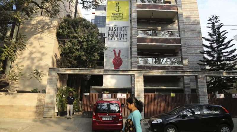 The Amnesty International India headquarters in Bangalore, India. The Human rights watchdog said on Sept. 29, 2020 that it was halting its operations in India, citing reprisals from the government and the freezing of its bank accounts. (AP)