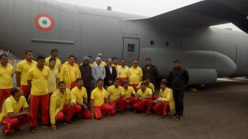 'The 20 member team of Odisha Fire Service which is headed by chief fire service officer is meant to assist the local authorities in rescue operations,' said the Director General of Odisha Fire Service, Bijay Kumar Sharma. (Photo: ANI)