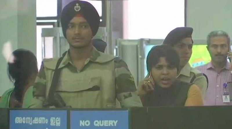 Talking to media over phone, activist Trupti Desai said she would not go back to Maharashtra without a darshan at the Lord Ayyappa temple. (Photo: Twitter | ANI)