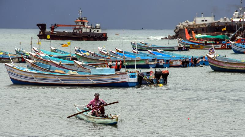 Fishing boats anchored at Vizhinjam Coast following a cyclone alert in Thiruvananthapuram, Thursday, May 13, 2021. Fishermen have been prohibited from venturing out to sea from Thursday due to the cyclone alert over the Arabian Sea. (PTI)