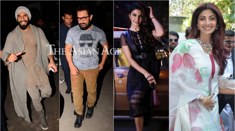 Our shutterbug spotted several celebrities such as Aamir, Ranveer, Jacqueline, Shilpa and others attending different events in Mumbai on Friday. (Photo: Viral Bhayani)
