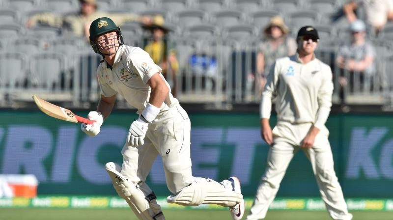 The home side were 75 for one in their second innings, with Joe Burns on 32 and Marnus Labuschagne on 18. (Photo: AFP)