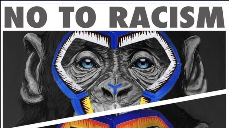 Italy's top-flight Serie A soccer league launched a new anti-racism campaign on Monday by presenting artwork featuring three side-by-side paintings of apes but the move has been described by campaign group Fare as a sick joke. (Photo: Twitter)