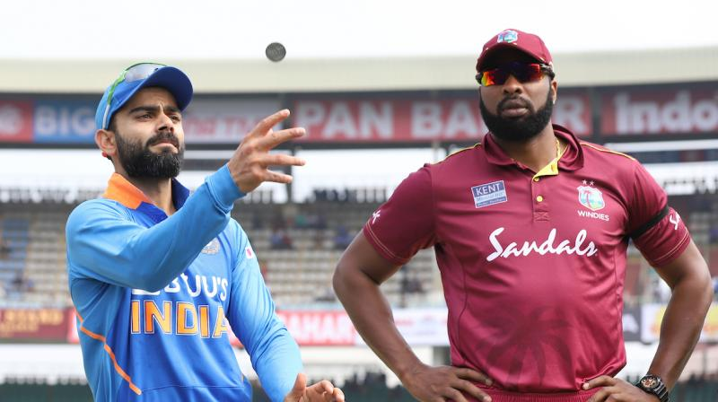 West Indies won the toss and elected to field first against India in the second ODI of the three-match series here on Wednesday. (Photo: Twitter/ BCCI)