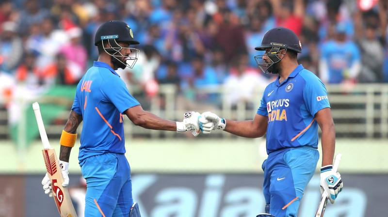 Rohit Sharma made mincemeat of an ordinary West Indies attack at his own languid pace, complemented by an equally elegant KL Rahul, as their twin centuries steered India to an imposing 387/5 in the second ODI here on Wednesday. (Photo: AFP)