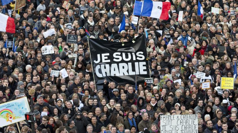 Thousands of people gather at Republique Square in Paris. The January 2015 attacks against Charlie Hebdo and, two days later, a kosher supermarket, touched off a wave of killings claimed by the Islamic State group across Europe. (AP File)