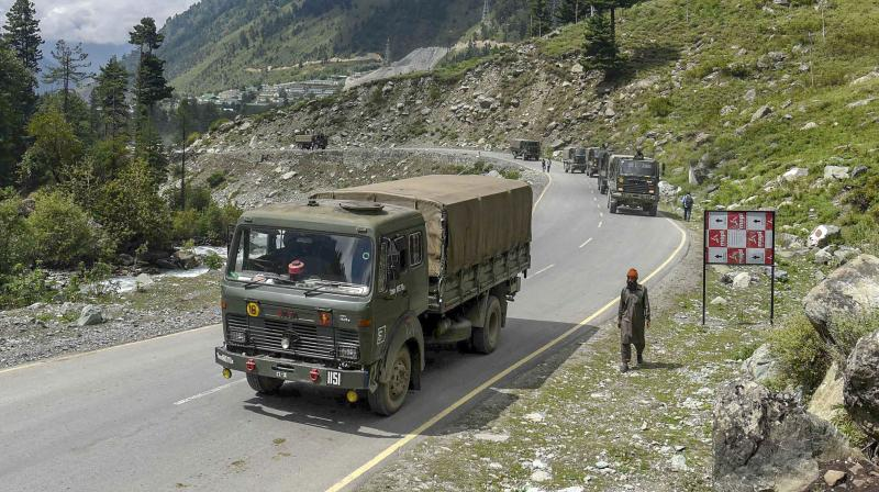 Army convoy moves on Srinagar- Ladakh highway at Gagangeer, in Ganderbal district of Central Kashmir. In a fresh incident in eastern Ladakh, the Chinese PLA carried out