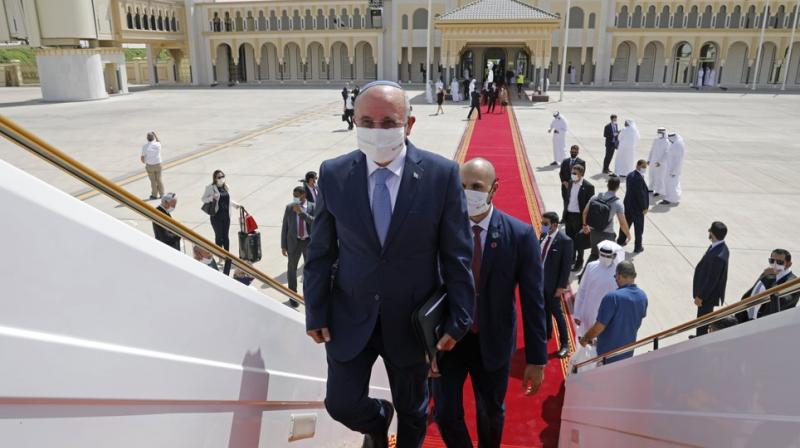 Israeli National Security Advisor Meir Ben-Shabbat boards a plane leaving Abu Dhabi, United Arab Emirates. (AP)