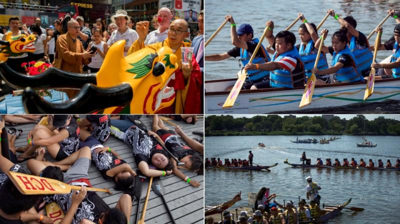 The 27th annual Hong Kong Dragon Boat Festival drew hundreds of participants at Flushing Meadows Corona Park in the borough of Queens. (Photo: AP)