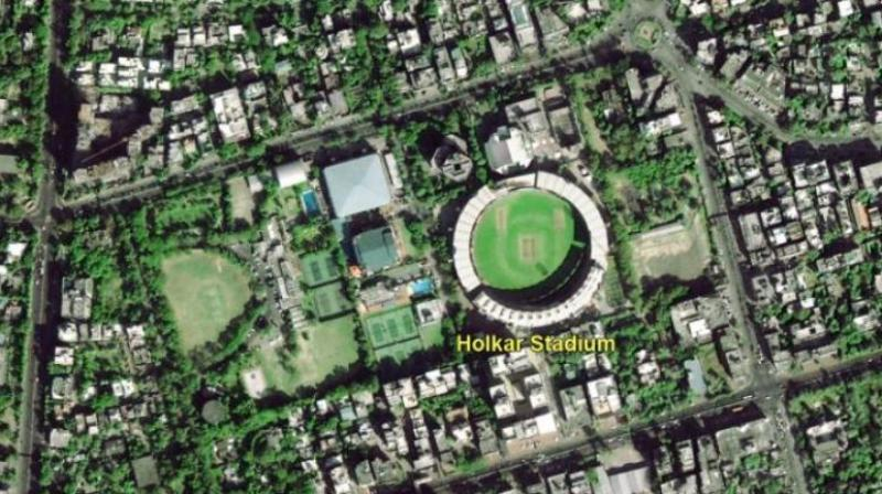 The image shows a part of Indore with the Holkar Cricket Stadium in the centre. (Photo: ISRO)