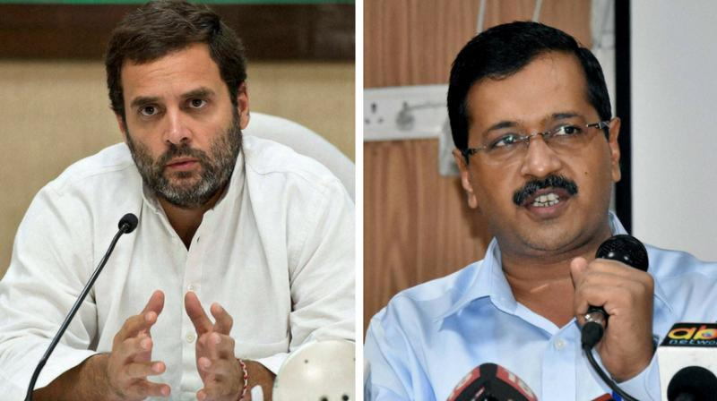 Congress president Rahul Gandhi and Aam Aadmi Party supremo Arvind Kejriwal. (Photo: PTI)