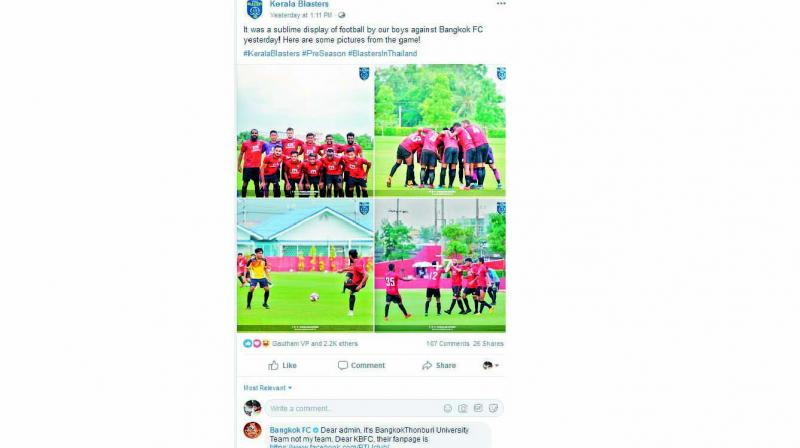 A screengrab of the facebook post shows Bangkok FC denying playing against Kerala Blasters.