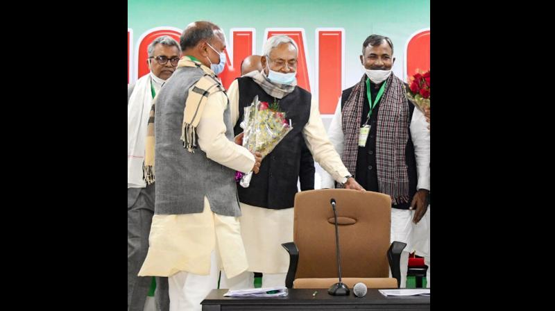 """Nitish Kumar who was appointed as the JD(U)'s national president in April 2016, announced his decision to step down from the post on Sunday following the norms of """"one leader one post"""" (PTI)"""