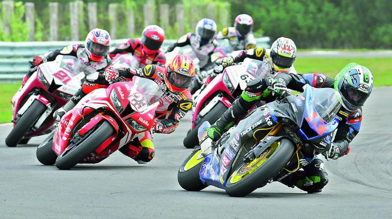 Action from round four of the FIM Asia Road Racing Championship at the MMRT in Chennai on Sunday.