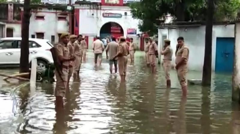 The jail building is in a dilapidated condition and officials said water-logging inside it is not new. (Photo: ANI   Twitter)