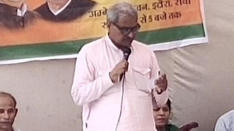 The BJP parliamentarian further encouraged the crowd to act against the civil servant stating that he is ready to take the responsibility of it even if anyone else's buried the commissioner alive. (Photo: Twitter)