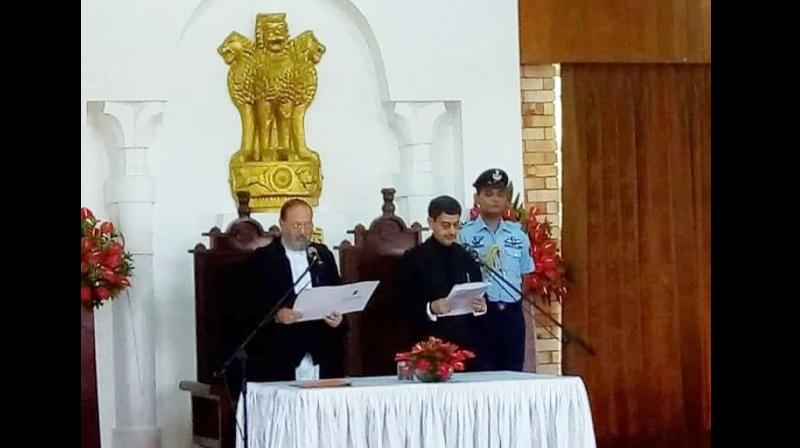 Ravi was administered the oath office at Raj Bhavan by the acting chief justice of Gauhati High Court, Arup Kumar Goswami, in presence of Chief Minister Neiphiu Rio, Assembly Speaker Vikho-o Yhoshu,  Opposition Leader TR Zeliang, state ministers, legislators and other dignitaries. (Photo: Twitter I  @dimapur24_7)