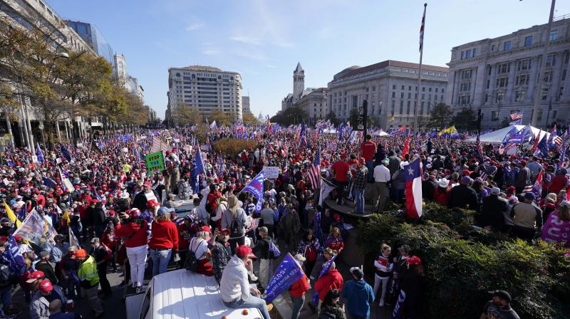 Supporters of President Donald Trump rally at Freedom Plaza on Saturday, Nov. 14, 2020, in Washington. (AP)