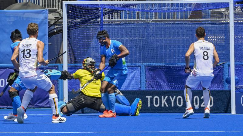 Players in action as India hits its first goal against Belgium in the men's field hockey semifinal match, at the 2020 Summer Olympics. (Photo: PTI)