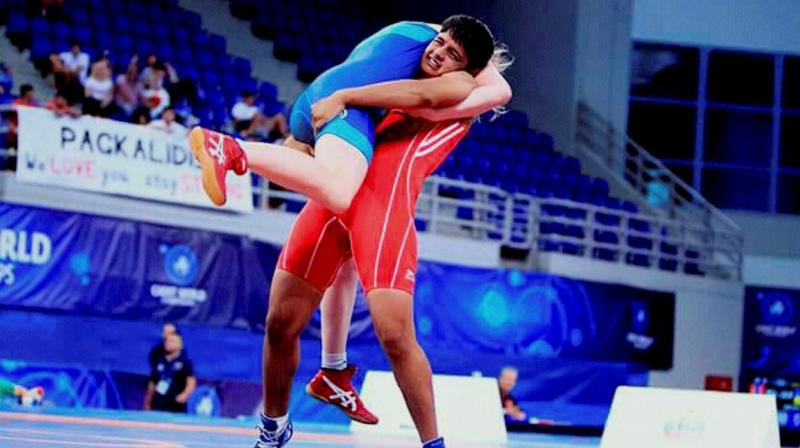 Sonam Malik in action in her match against Mongolia's Bolortuya Khurelkhuu. (Photo: Twitter/@WeAreTeamIndia)