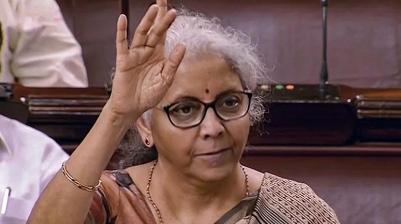 Union Finance Minister Nirmala Sitharaman speaks in the Rajya Sabha during the Monsoon Session of Parliament. (Photo: PTI)