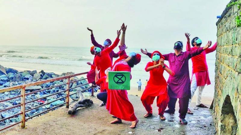 Red Saree Brigade march at Versova beach