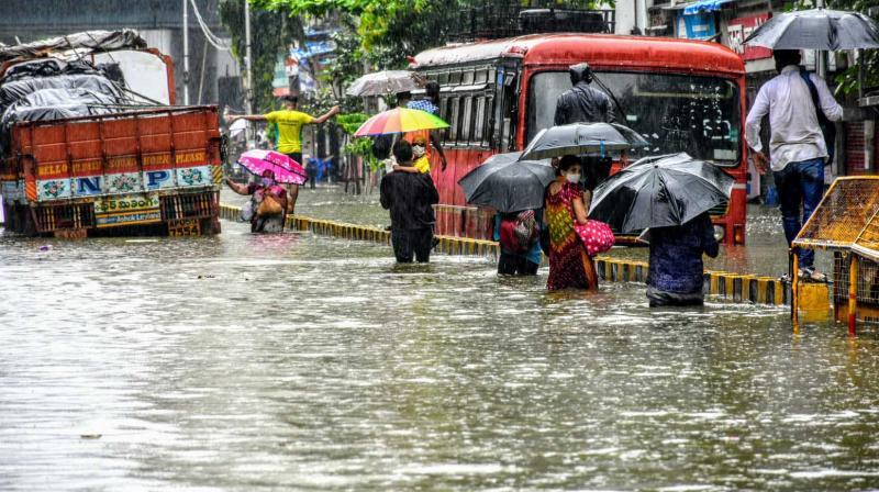 Heavy rains in Mumbai inundated low lying areas ike Wadala and lower parel in the city. — Rajesh Jadhav photo