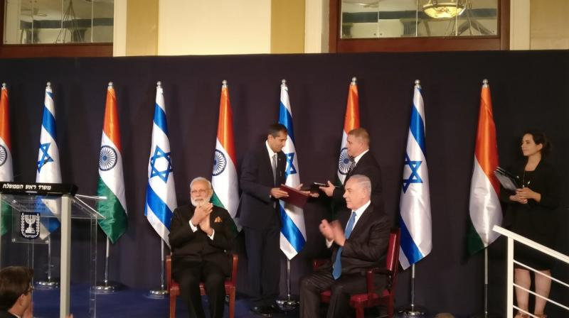 Prime Minister Narendra Modi and his Israeli counterpart Benjamin Netanyahu at the joint press conference in Israel. (Photo: Twitter | Gopal Baglay)