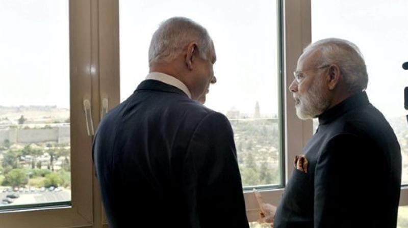 Prime Minister Narendra Modi with his Israeli counterpart Benjamin Netanyahu prior to a meeting in Jerusalem, Israel. (Photo: AP)