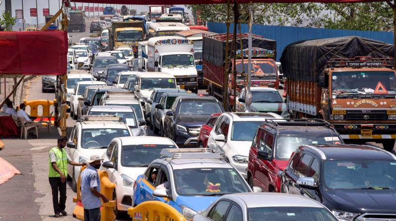 Traffic jam at Sion-Panvel Highway near Vashi Toll Plaza during relaxation hours of Covid-19 lockdown in Navi Mumbai. (Photo: PTI/File)