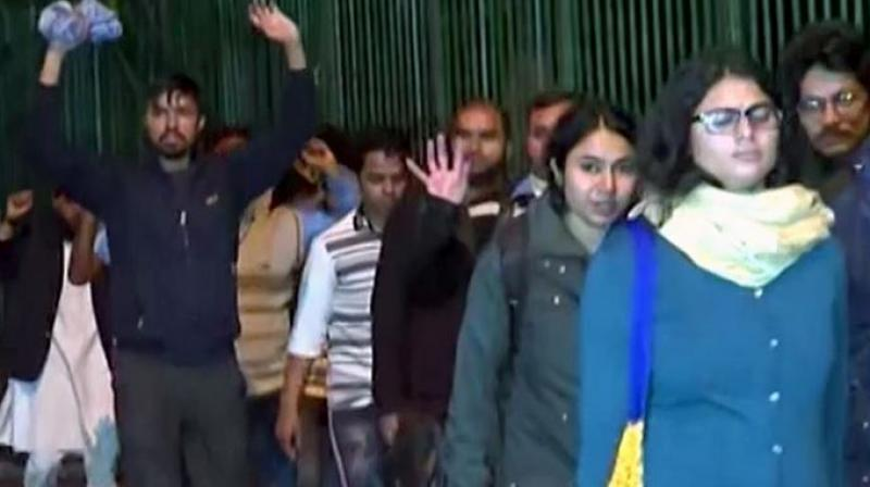 """""""We were asked to vacate the campus and come out with our hands up. We were not even present at the protest site and were inside the campus. We were treated like criminals by police,"""" a female student said on condition of anonymity. (Photo: ANI)"""