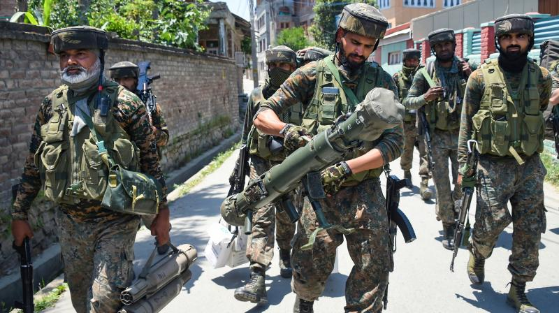 Indian security personnel in Srinagar. PTI photo