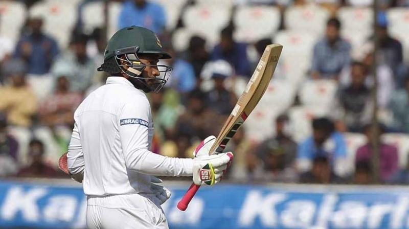 At stumps, Mushfiqur remained unbeaten on 81, while Mehedi was at 51 not out. The pair added 87 for the seventh wicket after carefully negotiating the final session without loss. (Photo: BCCI)