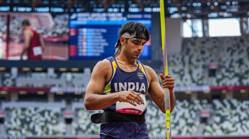 Neeraj Chopra bettered it with the second throw of 87.58m. While he wasn't able to improve any further, it was enough to get him the coveted medal. (Photo: Twitter)