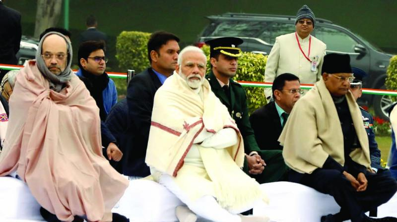 President Ram Nath Kovind, Prime Minister Narendra Modi and Union home minister Amit Shah at a function organised on the birth anniversary of Atal Behari Vajpayee in New Delhi on Wednesday. (Photo: Asian Age)