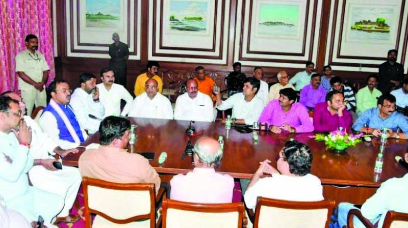 Mr Maurya meeting representatives in September. (Photo: Asian Age)