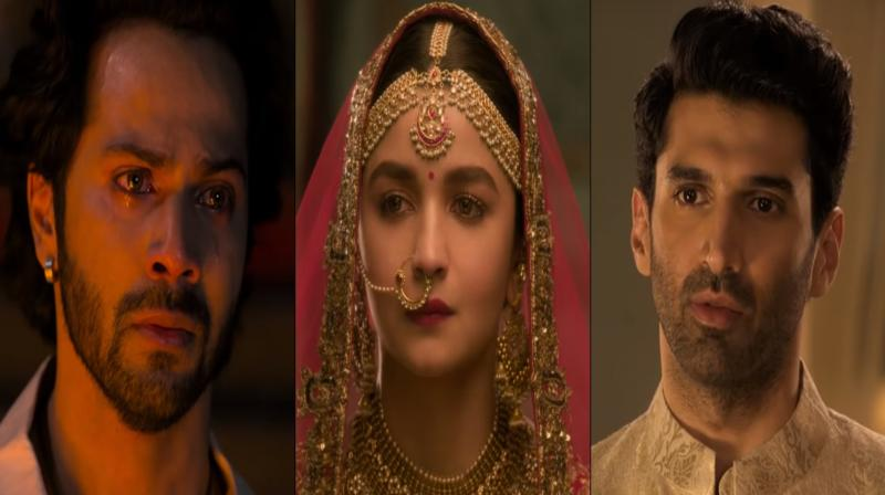 Screengrabs of Kalank trailer featuring Varun Dhawan, Alia Bhatt and Aditya Roy Kapur. (Courtesy: YouTube/FoxStarHindi)