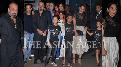Today, Bollywood superstar Sanjay Dutt turned 60 and on this special day, the actor went on dinner with his wife Maanayata Dutt, sisters Priya and Namrata and his kids. (Photos: Viral Bhayani)