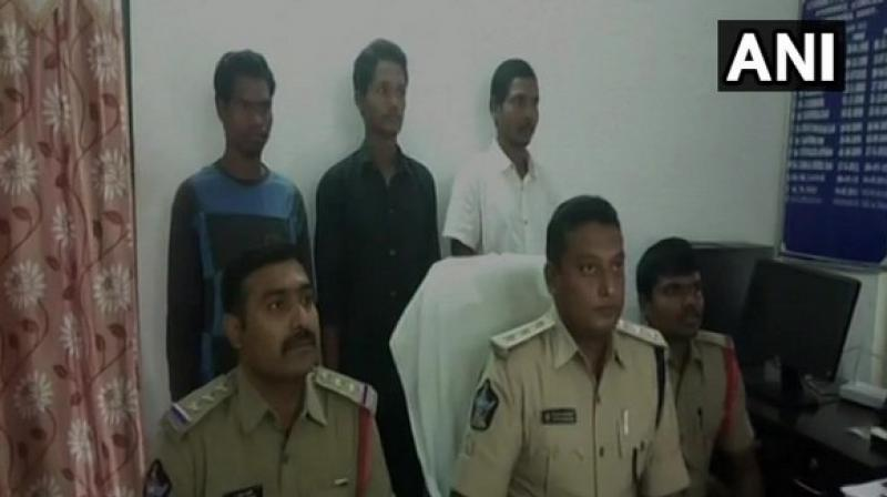Police officials with the surrendered naxalites. (Photo: ANI)