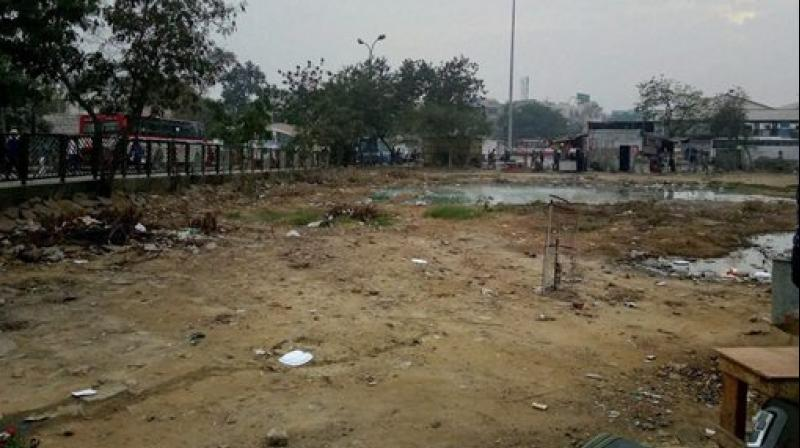 A polluted water body near the Anand Vihar ISBT, in New Delhi. (Photo: PTI)