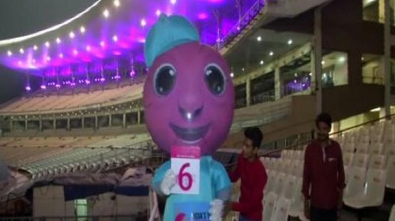 As the first-ever day-night Test in India is inching closer, the venue of the match, Eden Gardens, is being decorated with pink lights. (Photo:ANI)