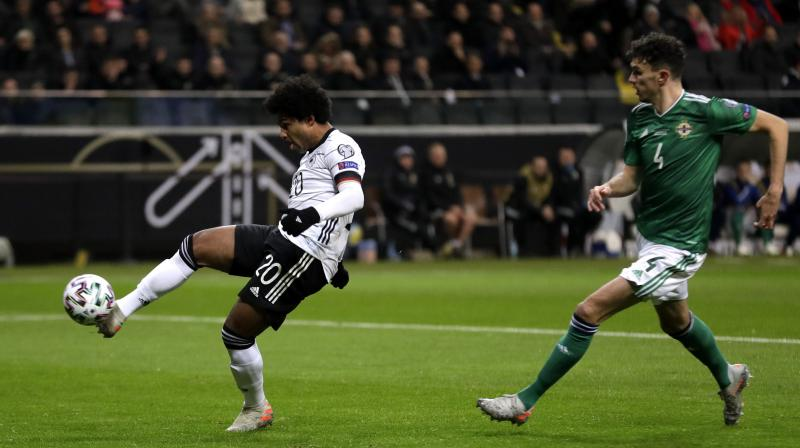 Serge Gnabry hit a hat-trick as Germany finished top of their Euro 2020 qualifying group after brushing Northern Ireland aside 6-1 on Tuesday. (Photo:AP)
