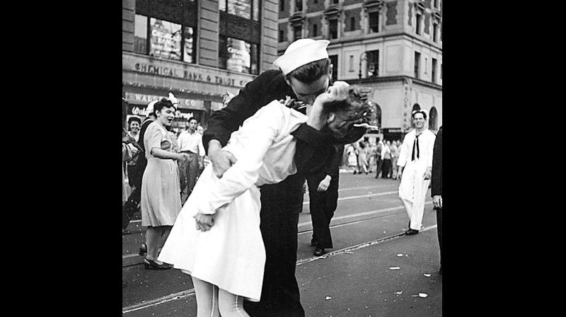 The iconic photo taken at the Times Square right after the end of WWII in 1945, the statue was modellled on. (Photo: ANI)