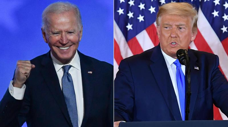 Biden, in a tight electoral vote fight to the White House against incumbent President Donald Trump, is 2.7 million votes ahead of the Republican leader in the popular vote.  (AFP)