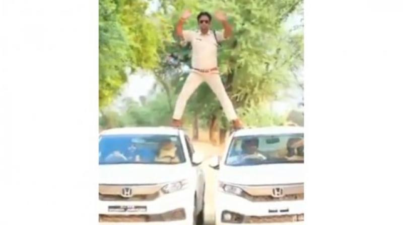 Videograb of the Singham stunt.