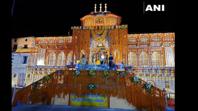 A fully decorated Badrinath temple. (ANI)