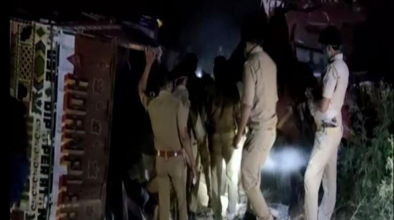 Uttar Pradesh Police at the accident spot. (ANI)